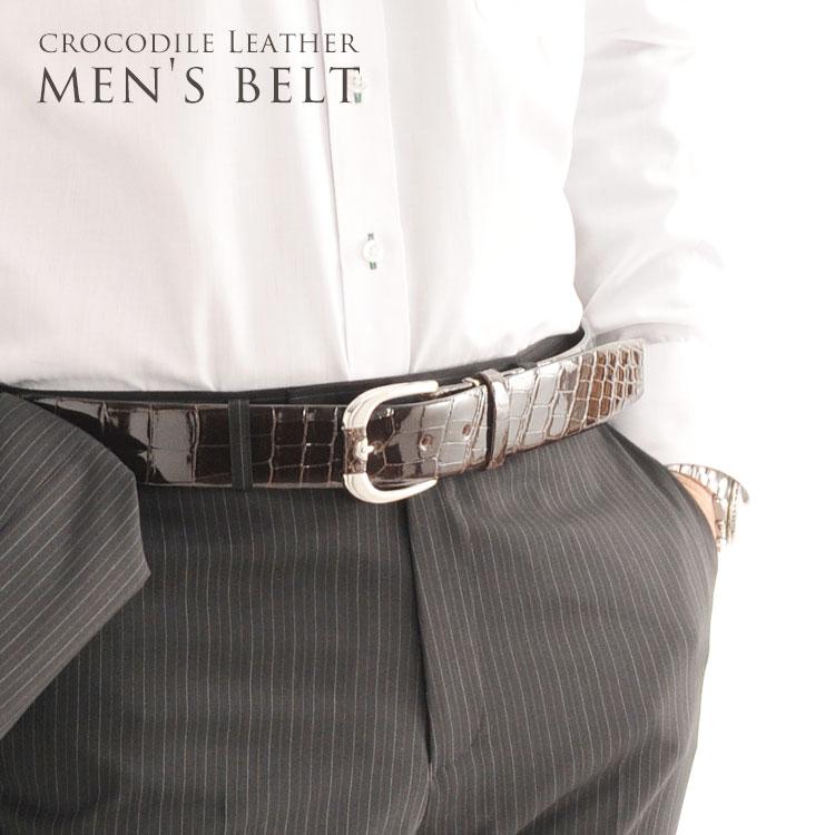 クロコダイル 40mm ベルト メンズ 牛ウラ ピン&バックル 日本製 ビジネス スーツメンズベルト 男性 紳士 大人 ブラック ふとい 革 レザー ワニ革 プレゼント JRA プレゼント ギフト おすすめ