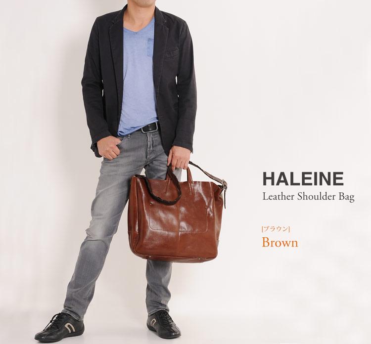 HALEINE[アレンヌ]牛革ショルダーバッグイタリア製牛革ベルト/メンズ
