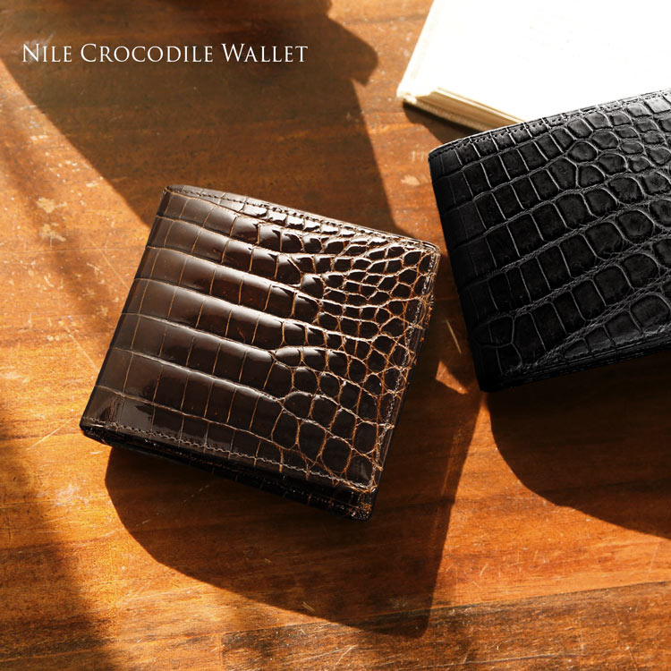 クロコダイル 無双 折り財布 日本製 メンズ 小銭入れ付き 一枚革 ダークブラウン/ブラック シャイニング/マット ギフト プレゼント 春財布 父の日