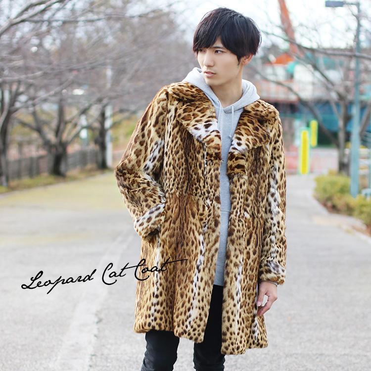 レオパード キャット & シルク リバーシブル コート カーキブラウン テーラーカラー / メンズ