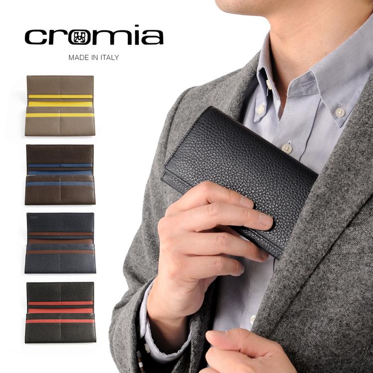 [cromia] クロミア 牛革 長財布 かぶせ イタリア製 バイカラー メンズ トープ/ブラウン/ネイビー/ブラック 父の日