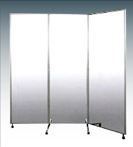 設置サービス付キャスター付大型鏡三面鏡姿見640 [全国送料無料、日本製]シルバー 裏面 白