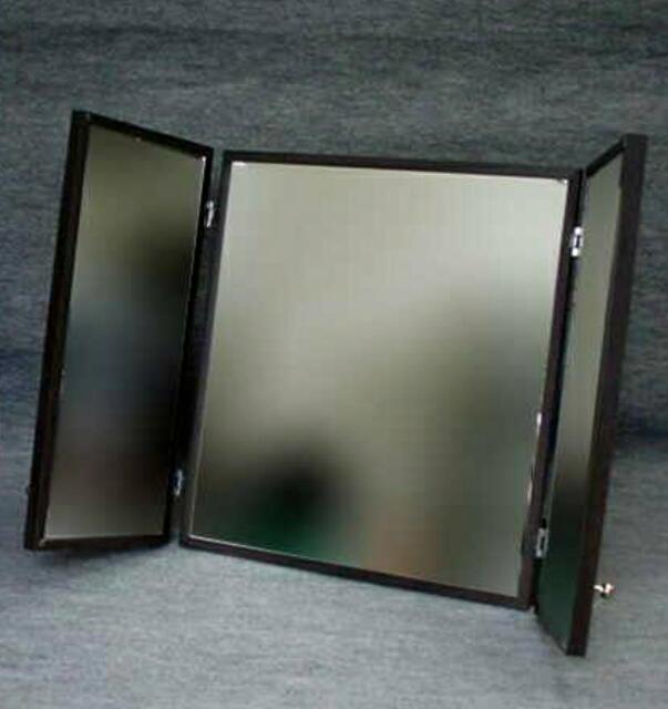 【日本製】[送料無料]大型卓上三面鏡 ダーク色