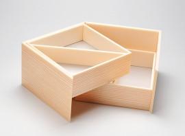 登場大人気アイテム 杉柄2段開き折箱 蓋つき 上段仕切り付き 使い捨て 折箱 まとめ買い特価 上品 弁当 2段開き 高級折箱