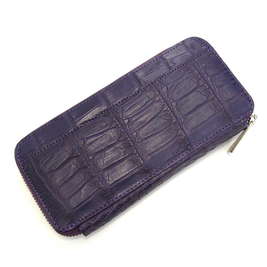 【送料無料】【中古】高級皮革系 クロコロワイヤル・ラウンドファスナー長財布【Aランク】