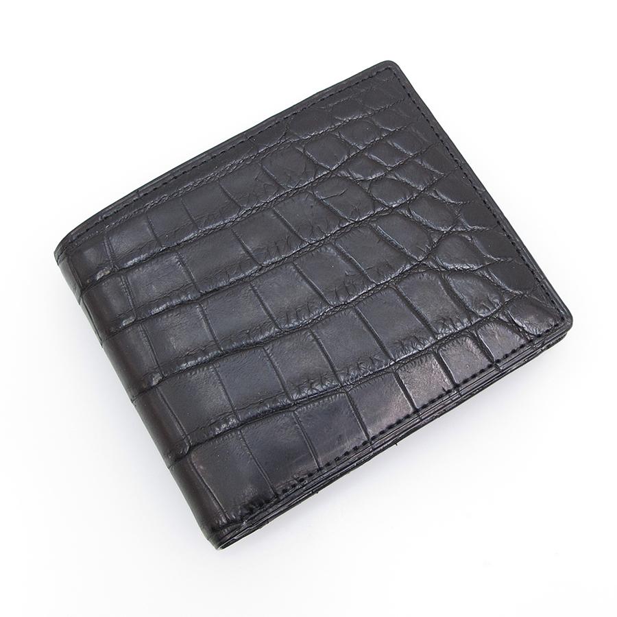 【送料無料】【中古】高級皮革系 マットクロコ・二つ折財布 【Sランク】