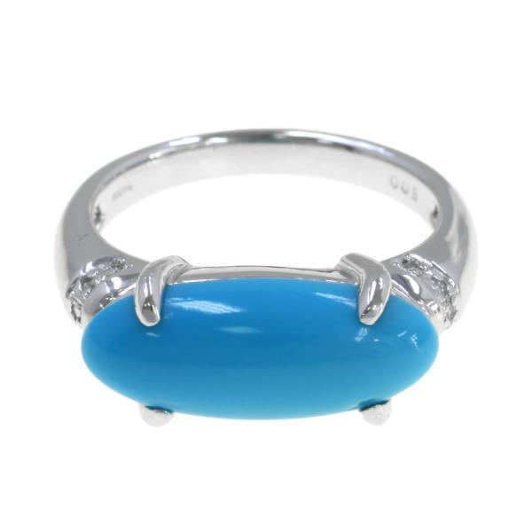 【送料無料】【中古】 K18WGトルコ石ダイヤリング#12 【無料ギフトラッピング】【Aランク】