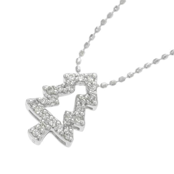 【送料無料】【中古】 K18WGダイヤネックレス 【無料ギフトラッピング】【Aランク】