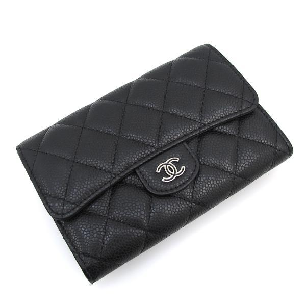 【送料無料】【中古】シャネル キャビア・マトラッセ 2つ折財布 【Aランク】