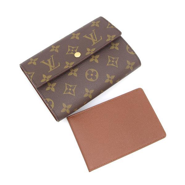【送料無料】【中古】ルイヴィトン モノグラム カード用ポケット付財布/脱着証明書ケース付 M61202【Aランク】