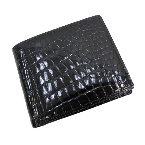 【送料無料】【中古】高級皮革系 クロコ・二つ折り財布 無双 【Sランク】