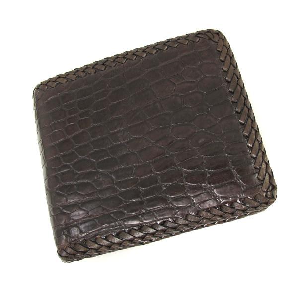 【送料無料】【中古】高級皮革系 ワニ革二つ折財布 【Aランク】