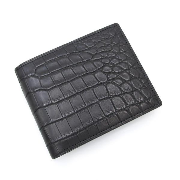 【送料無料】【中古】高級皮革系 マットクロコ2つ折財布・無双 【Sランク】