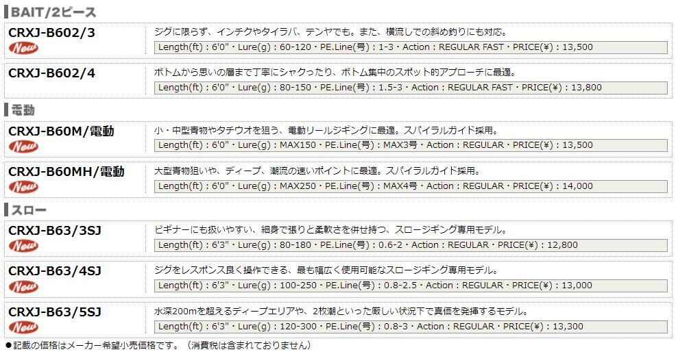 主流的选秀(MajorCraft)jiginguroddokurosuteji JIGGING series CRXJ-S58/3