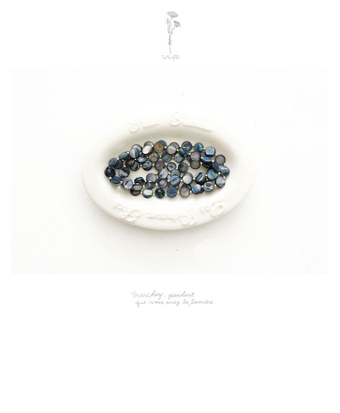 Coexistence blue shell necklace ◇◇◆◆ cawaii sanpo Lady's fashion casual  natural of individuality and the usual times errand