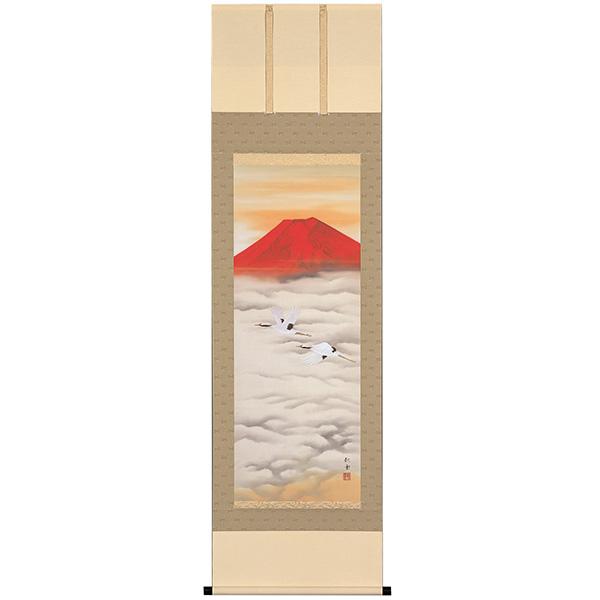 赤富士飛鶴 (中島秋雲筆)