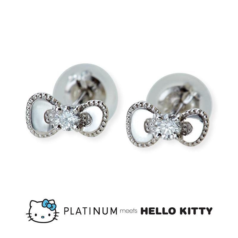 【Hello Kitty】 プラチナ ミーツ ハローキティ ダイヤモンドピアス