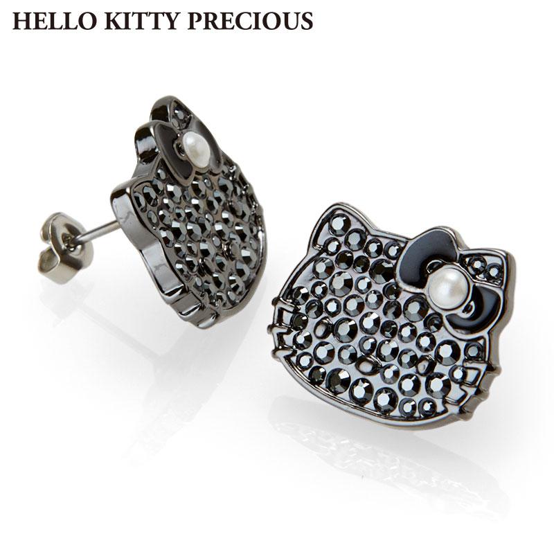 ハローキティ スワロフスキー(R)・クリスタルピアス ブラック(HELLO KITTY PRECIOUS)