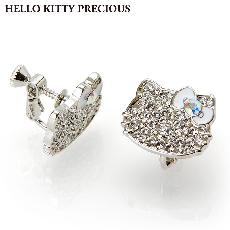 ハローキティ スワロフスキー(R)・クリスタルイヤリング ホワイト(HELLO KITTY PRECIOUS)