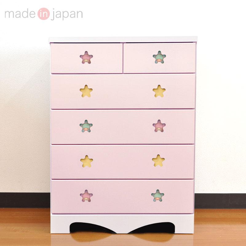 リトルツインスターズ チェスト5段(ワイド75) ピンク