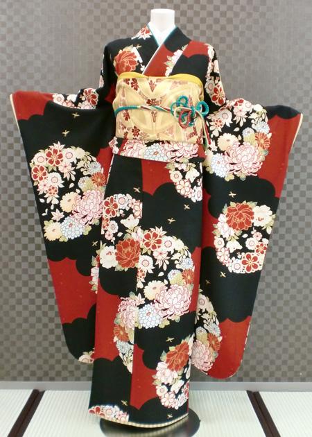振袖 ふりそで 振袖レンタル 着物 フルセット 送料無料 結婚式 成人式 着物レンタル レトロ 千鳥格子 L-5085