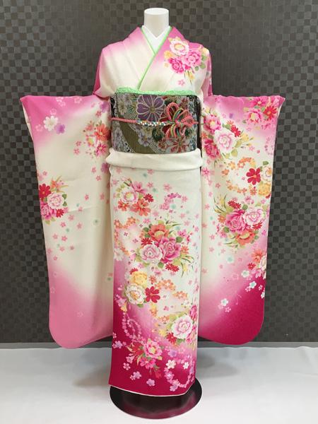 振袖 ふりそで 振袖レンタル 着物 フルセット 送料無料 結婚式 成人式 着物レンタル かわいい L-5107
