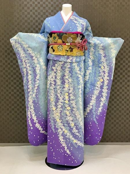 振袖 ふりそで 振袖レンタル 着物 フルセット 送料無料 結婚式 成人式 着物レンタル ブルーボカシしだれ桜L-5127