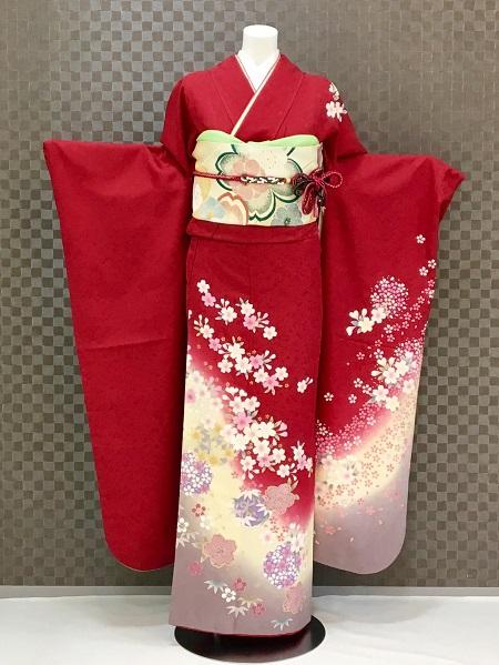 振袖 ふりそで 振袖レンタル 着物 フルセット 送料無料 結婚式 成人式 着物レンタル 赤地に小桜 L-5132