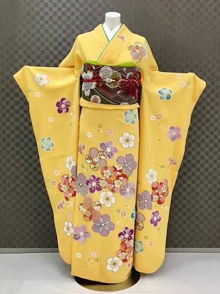 振袖 ふりそで 振袖レンタル 着物 フルセット 送料無料 結婚式 成人式 着物レンタル 黄色地ちりめんねじり梅 L-5134