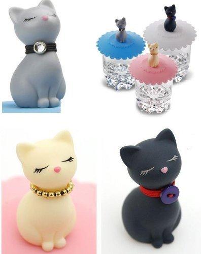 可愛い猫雑貨 ☆最安値に挑戦 可愛い猫 の シリコン マグカップ蓋 今だけスーパーセール限定 3匹 セット ねこ ネコ グッズ 3色 猫
