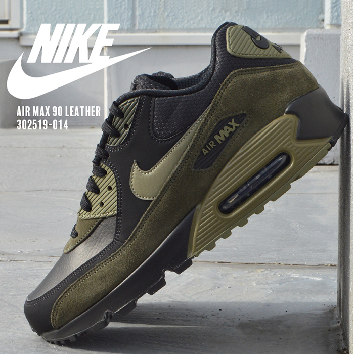 Nike men Air Max NIKE AIR MAX 90 LEATHER 302,519 014 gentleman man man black running black khaki green shoes sneakers shoes