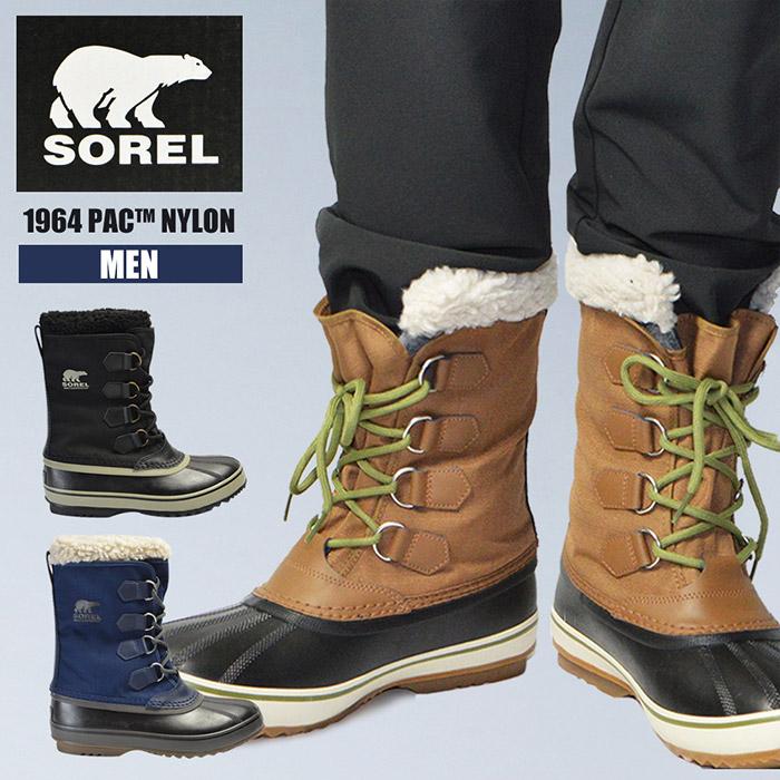 ソレルあったか防滑メンズ男性紳士SOREL1964PACNYLONNM1440防寒防水スノーブーツ軽量雪ブーツ靴ウィンターブーツ