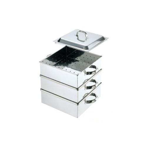 【新品・送料無料・代引不可】調理器具 45cm角蒸し器(2段)0465100 450×450×中段深さ100(mm)