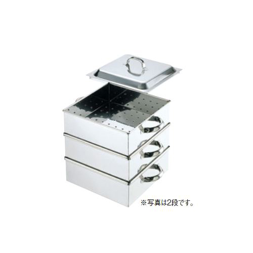 【新品・送料無料・代引不可】調理器具 50cm角蒸し器(3段)0466100 500×500×中段深さ100(mm)