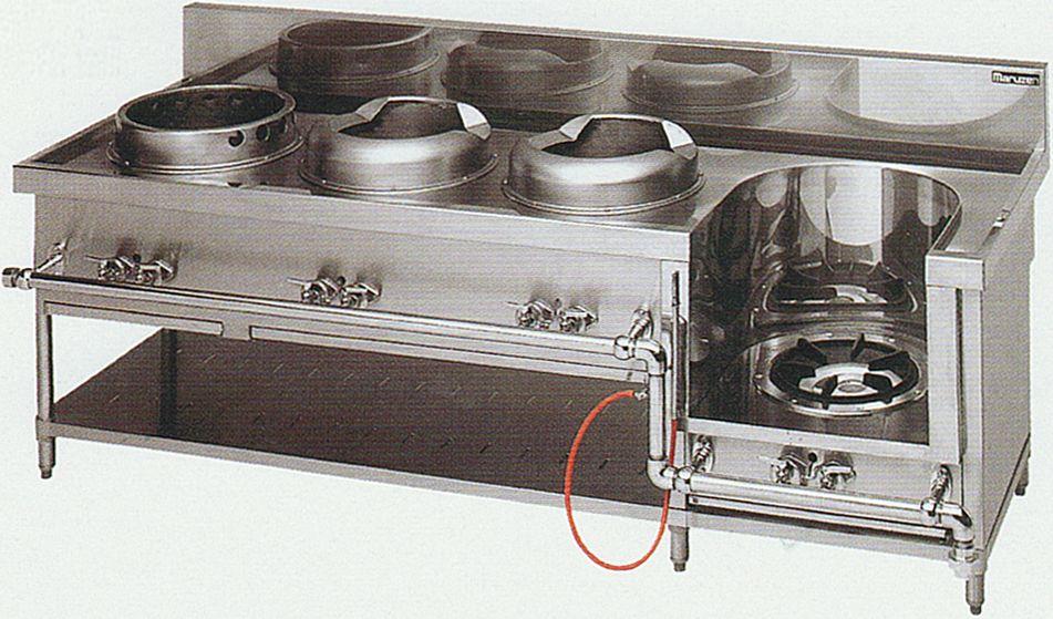 中華レンジ(マルゼン)・餃子、イタメ2、スープ 厨房機器 調理機器 MRS-114C W2150*D750*H720(mm)
