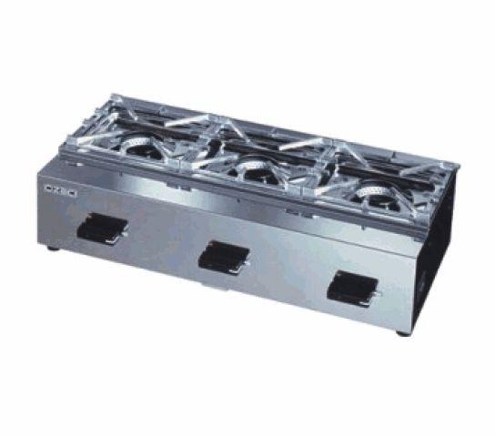 ガステーブルコンロ ニューゴルフシリーズ(オザキ)・3口 厨房機器 調理機器 OZK3III W715*D350*H180(mm)