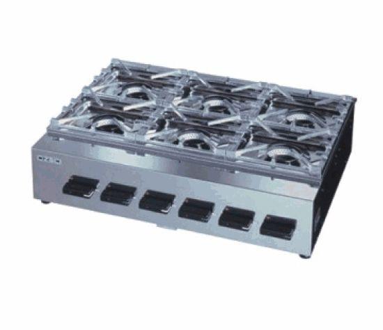 ガステーブルコンロ ニューゴルフシリーズ(オザキ)・6口 厨房機器 調理機器 OZK6III W715*D550*H180(mm)