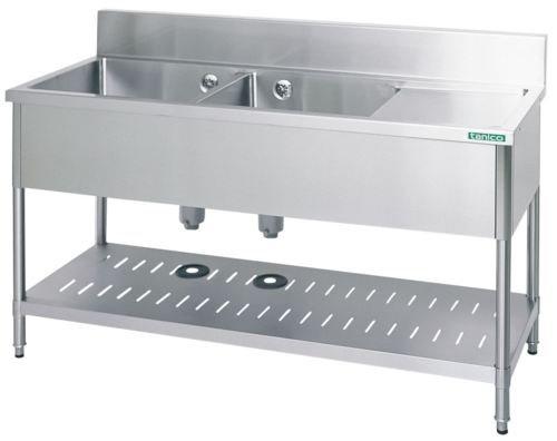 【シンク】タニコー 水切付二槽シンク(バックガード有り) TX-2SL-120 W1200*D600*H800