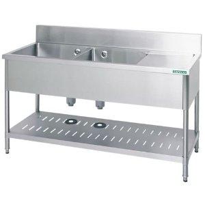 【シンク】タニコー 水切付二槽シンク(バックガード有り) TX-2SL-150A W1500*D750*H800