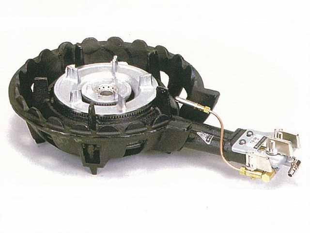【新品・代引不可】タニコー 鋳物ガスコンロセット 二重ハイカロリーバーナー 種火付 TS-208P W330×D525×H130(mm)