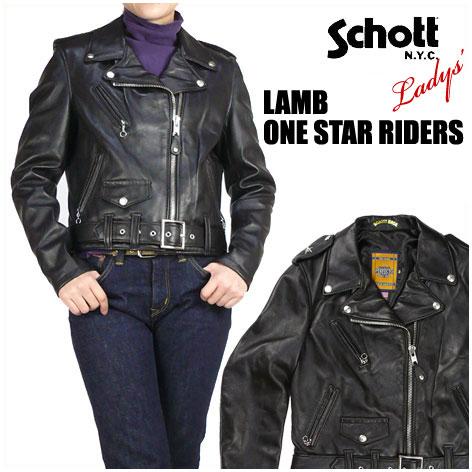【送料無料】Schott/Lady's (ショット) 218W WOMENS LAMB ONE STAR RIDERS ラム ワンスターライダースジャケット レザージャケット -Made in USA- 218W/7197 【smtb-k】【ky】