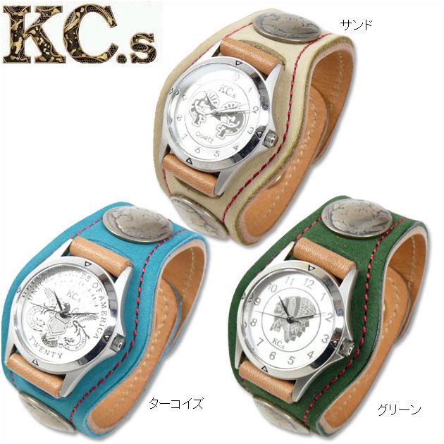 KC'S (ケイシイズ) レザーブレスウォッチ/時計 -スタンディング ロック/ヌバック刺繍- KSR056 【送料無料】プレゼント ギフト