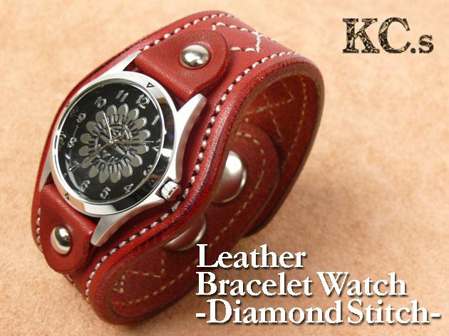 KC'S (ケイシイズ) ダイヤステッチ レザーブレスウォッチ(時計) KSR073 プレゼント ギフト