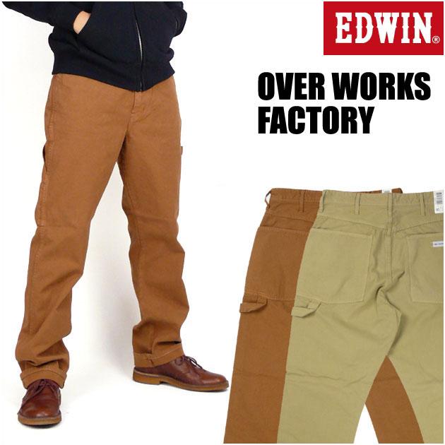 【送料無料】 EDWIN (エドウィン) TAPERED PAINTER PANTS テーパード ペインターパンツ/カラー -OVER WORKS FACTORY- 50938 【smtb-k】【ky】