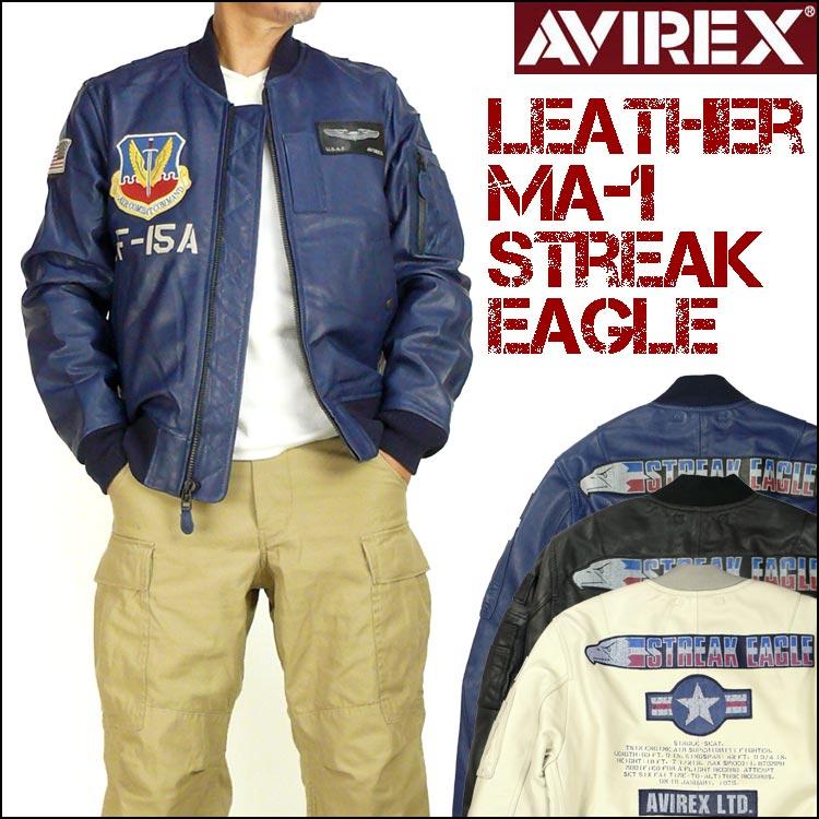 "AVIREX (avirex) LEATHER MA-1/STREAK EAGLE-Eagle streak Eagle leather Ma-1 - ""40th anniversary model"" 6151098"