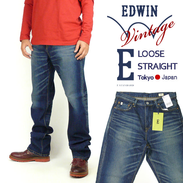 EDWIN エドウィン メンズ ジーンズ E STANDARD イースタンダード EDV04 ビンテージストレート ダークブルー 【送料無料】