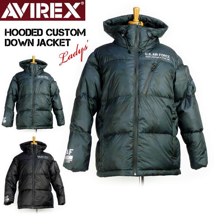 セール AVIREX アビレックス フーデッド カスタムダウンジャケット レディース HOODED CUSTOM DOWN JACKET ミリタリージャケット6282050