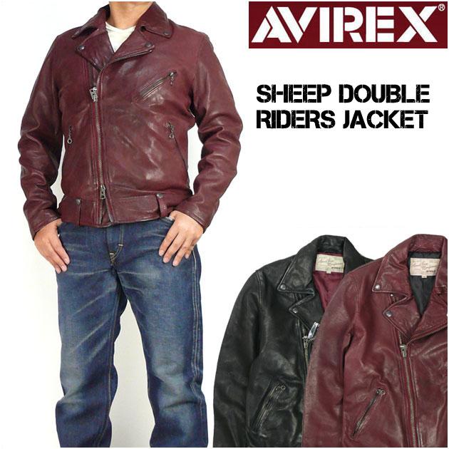 セール アビレックス AVIREX メンズ レザージャケット シープスキン ダブルライダースジャケット 革ジャン 6171063 【送料無料】 プレゼント ギフト