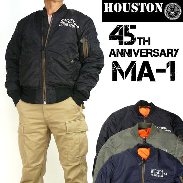 セール HOUSTON ヒューストン メンズ MA-1 45周年記念モデル MA-1 フライトジャケット EMBROIDERY 50565