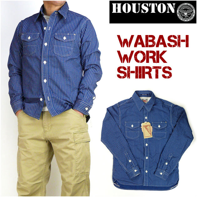 HOUSTON ヒューストン メンズ シャツ WABASH WORK SHIRT ウォバッシュストライプ 長袖ワークシャツ ミリタリーシャツ 日本製 40141 送料無料
